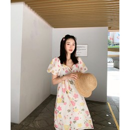 PRINSTORY 2019 Spring/Summer Floral Off-shoulder Dress S