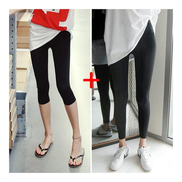 Product Detail - [KOREA] MAGZERO Summer Cool Capri Leggings 2Pack #Black One Size(S-M) [Free Shipping] - image 0