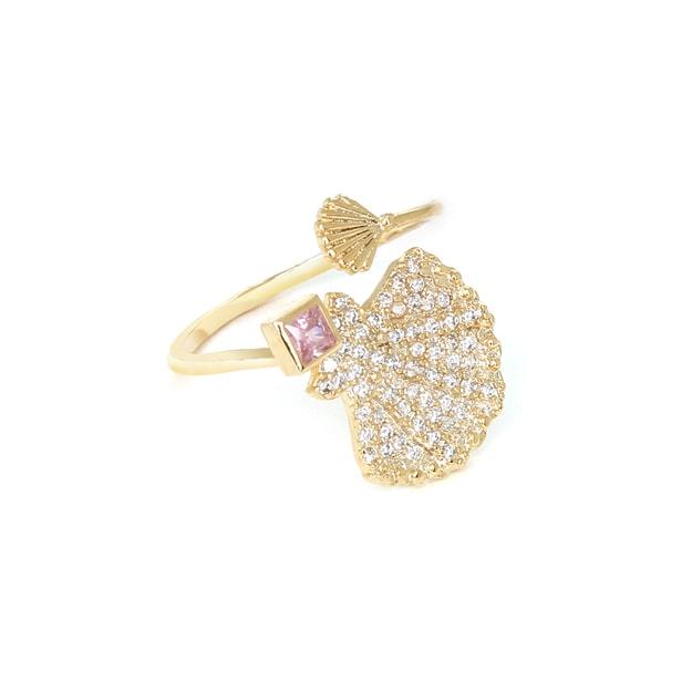 商品详情 - 纽约 IHUSH 俏物悄语 时尚海洋系列贝壳开口食指戒指指环 1件入 - image  0