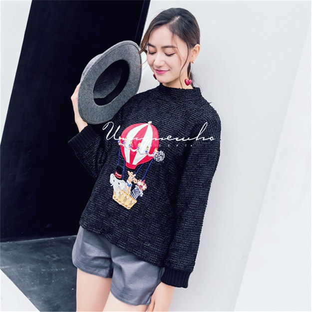 Product Detail - UNIQUEWHO Hot Air Balloon Embroidery Patch Manaul Rhinestone-studded Hoodie Black M - image 0