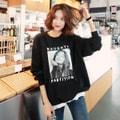 [韩国直邮] WINGS 韩国印花圆领卫衣运动衫女 #黑色 均码(S-M)