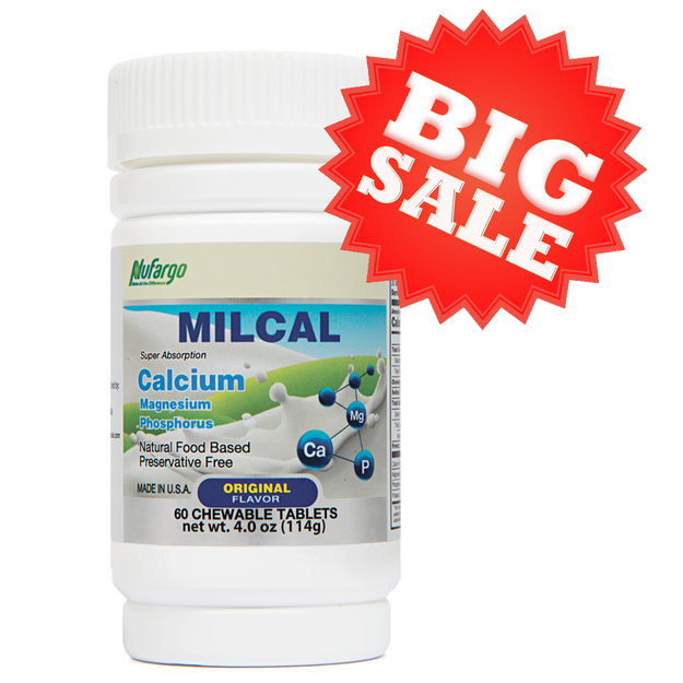 Product Detail - NuFargo MilCal Chewable Milk Calcium + Magnesium Leg Cramp Bone & Joint Health Men Women Kids Children Adults 60 Tablets - image 0