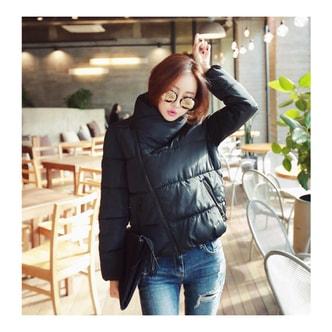 MAGZERO 【限量销售】 漏斗领羽绒短夹克 #黑色 均码(S-Size)