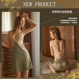 『中国直邮』瑰若品牌原创女新款缎面蕾丝吊带裙性感深v睡衣家居服套装721豆绿色均码