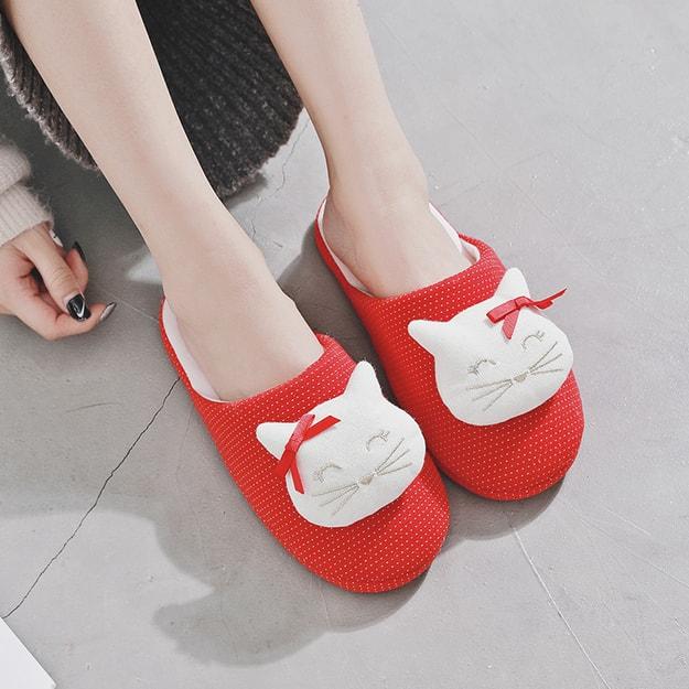 商品详情 - PREMIUM DOWN新款可爱少女心精致针织立体猫咪透气棉室内家居拖鞋 38-39 - image  0