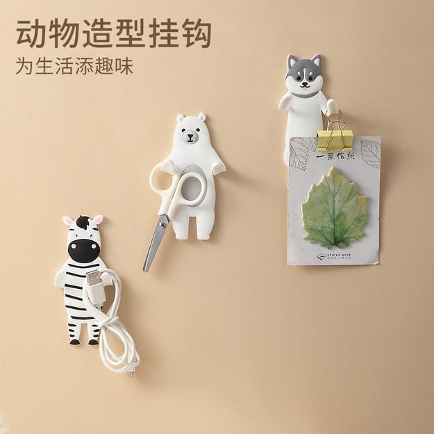 商品详情 - 中国直邮创意动物粘钩可爱卡通强力无痕钥匙挂钩门后浴室冰箱贴免打孔挂架 二哈一件 - image  0