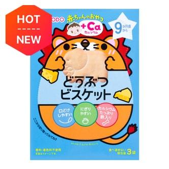 日本WAKODO牛乳屋 美味动物图案乳酪芝士烤饼干 35g 9M+ (含有丰富的钙)