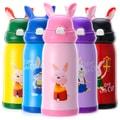 中国专线直邮 时效5-12天TIMESWOOD 创意儿童 学生吸管式 316不锈钢小兔子保温杯水杯500ml 西瓜红一件
