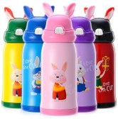 TIMESWOOD 500ml Cartoon Thermos Cup Bottle Stainless Steel Thermocup Vacuum Thermal Mug Pink 1 pcs