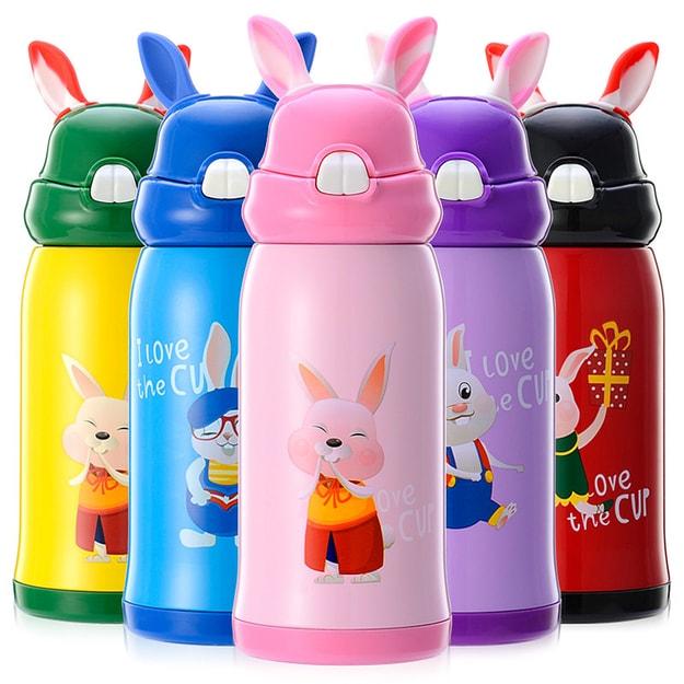 商品详情 - 中国专线直邮 时效5-12天TIMESWOOD 创意儿童 学生吸管式 316不锈钢小兔子保温杯水杯500ml 西瓜红一件 - image  0