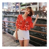 MAGZERO [Limited Quantity Sale] Ethnic Embroidery Shirring Blouse Red One Size(S-M)