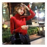 KOREA MAGZERO Turtleneck Bell Sleeve Ribbed Knit Top Red One Size(S-M) [Free Shipping]