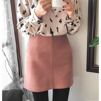 CHERRYKOKO New Korean Women Winter Sweet Pure Skirt pink S