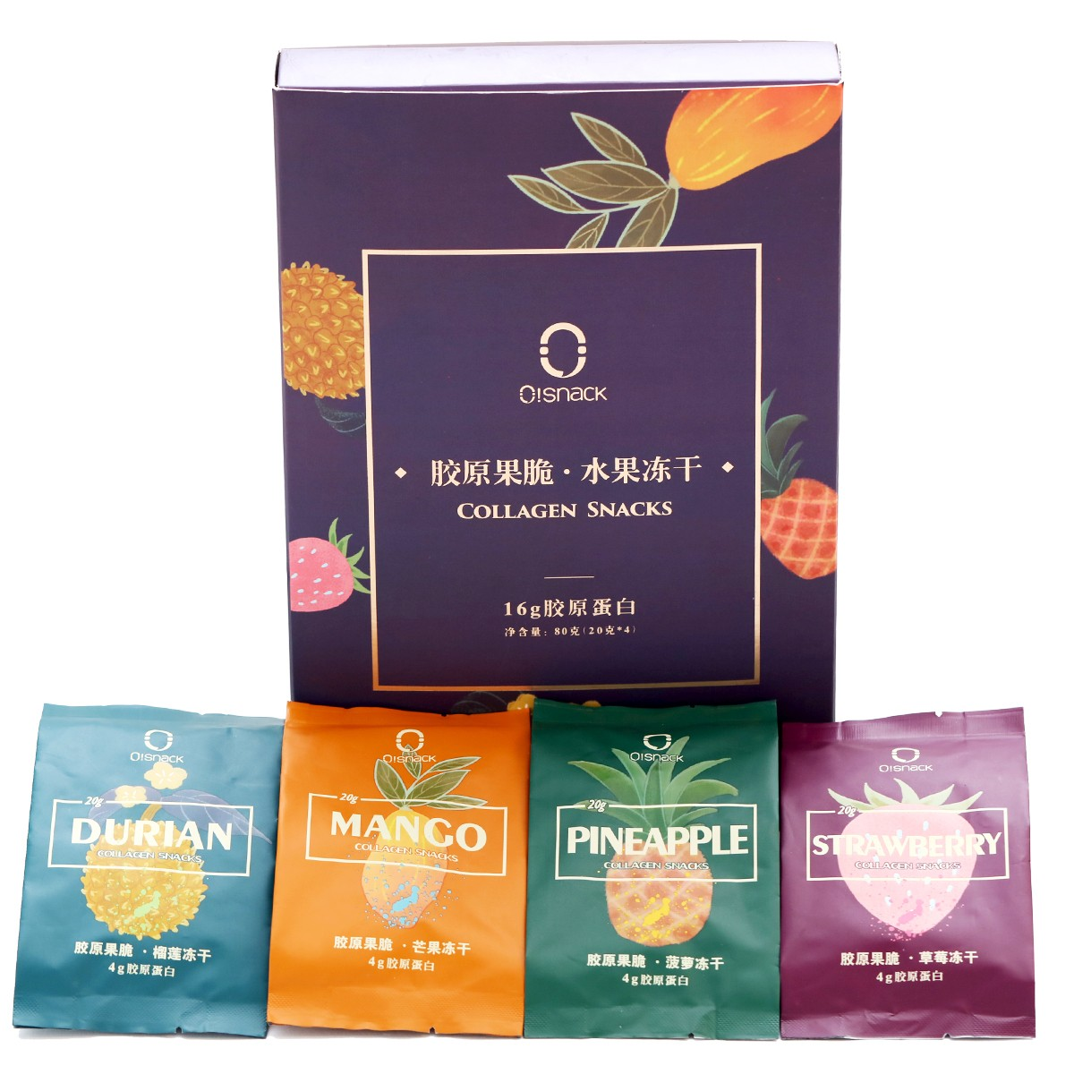 OSNACK Beauty Collagen Snack 16 days 320g Freeze-dried Fruits Mango Pineapple Strawberry Durian