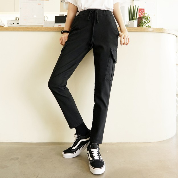 Product Detail - SSUMPARTY Cargo Slim Baggy Pants #Black M(27-28) - image 0