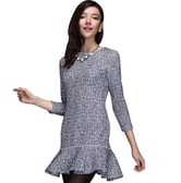 BIRRYSHOP workday  long sleeves round necklace dress blue M