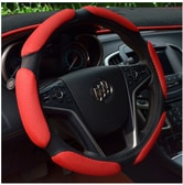 LORDUPHOLD 38cm Diameter Steering Wheel Cover Car Universal Sandwich Steering Wheel Covers Red 1 pcs