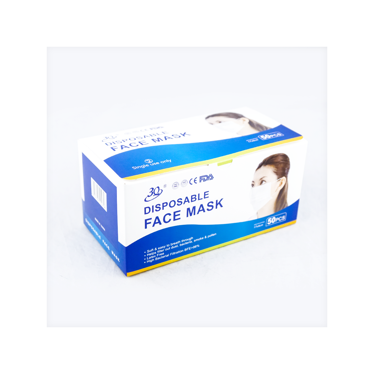 Yamibuy.com:Customer reviews:【FDA】3-ply Nonwoven With Ear Loops Face Masks Antibacterial Together BFE≥98% Latex Free [Color sent randomly]