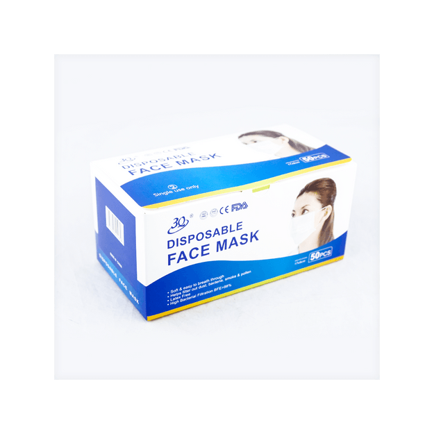 Product Detail - 【FDA】3Q 3-ply Nonwoven With Ear Loops Face Masks Antibacterial Together BFE≥98% Latex Free [Color sent randomly] - image 0