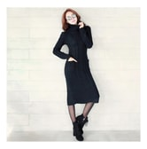 MAGZERO [Limited Quantity Sale] Cable Knit Turtleneck Sweater Dress Black One Size(S-M)