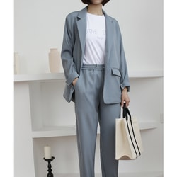 MOMO&MOLLY Korea simple thin suit jacket /elastic nine-points trousers two-piece suit Blue-gray S-size