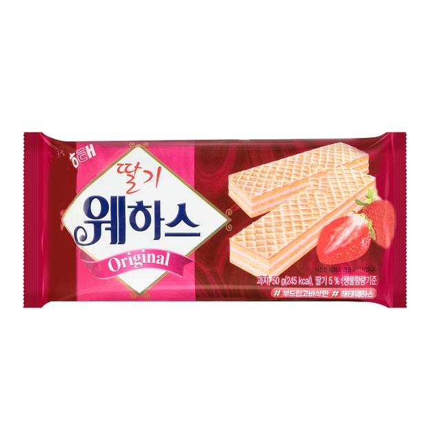 商品详情 - 韩国HAITAI海太 冰激凌威化饼干 草莓口味 50g - image  0