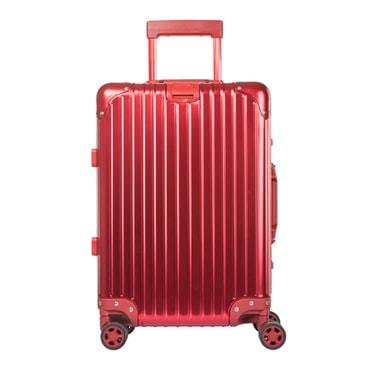 苏宁极物 全铝镁合金金属万向轮拉杆箱 20寸 红色
