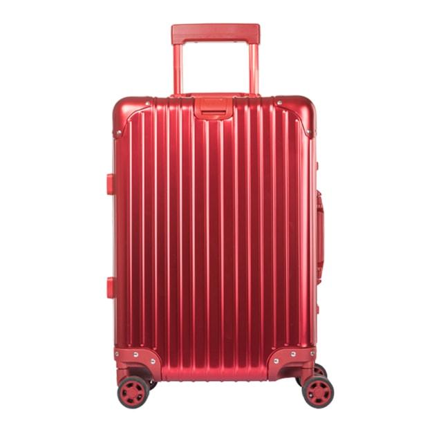 商品详情 - 苏宁极物 全铝镁合金金属万向轮拉杆箱 20寸 红色 - image  0