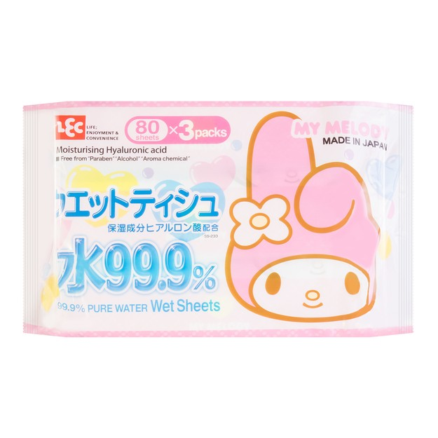 Product Detail - LEC 99.9% Pure Water Wet Wipes 80sheets * 3 packs- Sanrio Melody - image 0