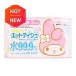 日本LEC MELODY美乐蒂 99.9%纯水超润肤湿纸巾 含保湿透明质酸 80片*3包入