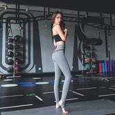 中国直邮 暴走的萝莉 修身健身踩脚长裤 速干跑步运动裤/岩石灰#/M