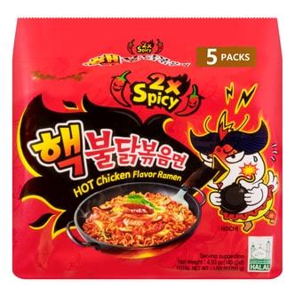 韩国SAMYANG三养 2倍加辣鸡肉味拌面 5包入 700g