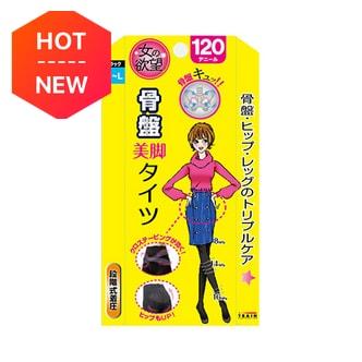日本TRAIN女の欲望 骨盆矫正瘦腿连裤袜 120D 黑色 M-L