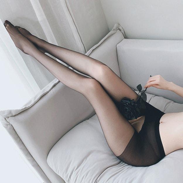 商品详情 - 中国直邮 瑰若 免脱丝袜 开裆情趣 丝袜 黑色均码一件 - image  0
