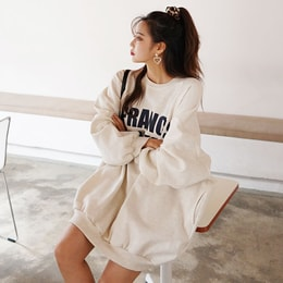 SSUMPARTY Oversized Sweatshirt With Fleece Lining #Oatmeal One Size(Free)