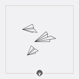 @BECOME Tattoo Stickers Paper plane Three Piece