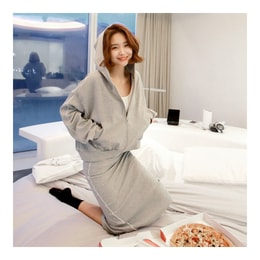 KOREA MAGZERO Zip-Up Hoodie and Sweat Skirt 2 Pieces #Grey One Size(S-M) [Free Shipping]