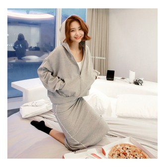 MAGZERO [2018 S/S New] Zip-Up Hoodie and Sweat Skirt 2 Pieces #Grey One Size(S-M)