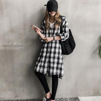 韩国直邮 NANING9 单排扣格子卫衣衬衫 黑色 均码