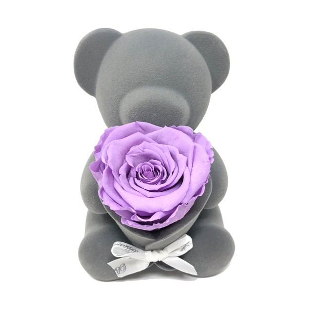 Product Detail - BLOSSOMING LOVE PURPLE  PRESERVED ROSE BEAR MUSIC BOX - image 0