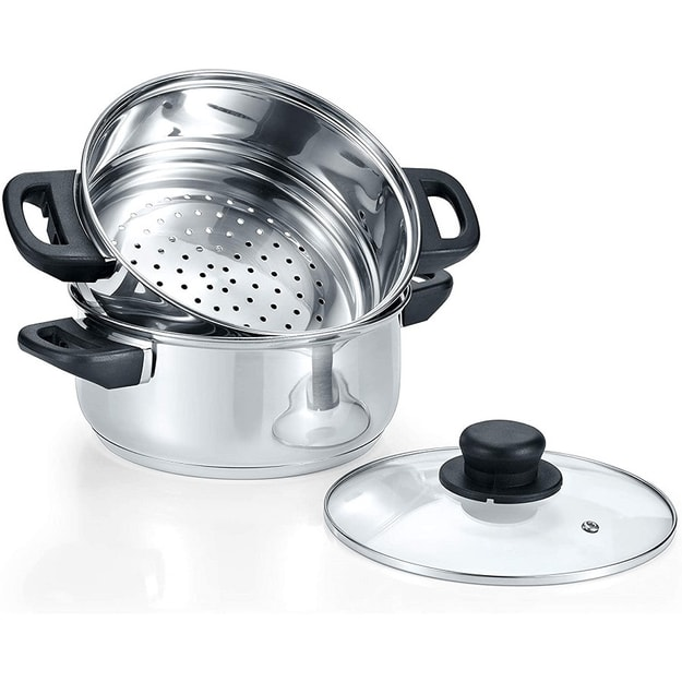 Product Detail - 3 Quart Stainless Steel Steamer Cookware Set 3 Piece INDUCTION COMPATIBLE - image  0