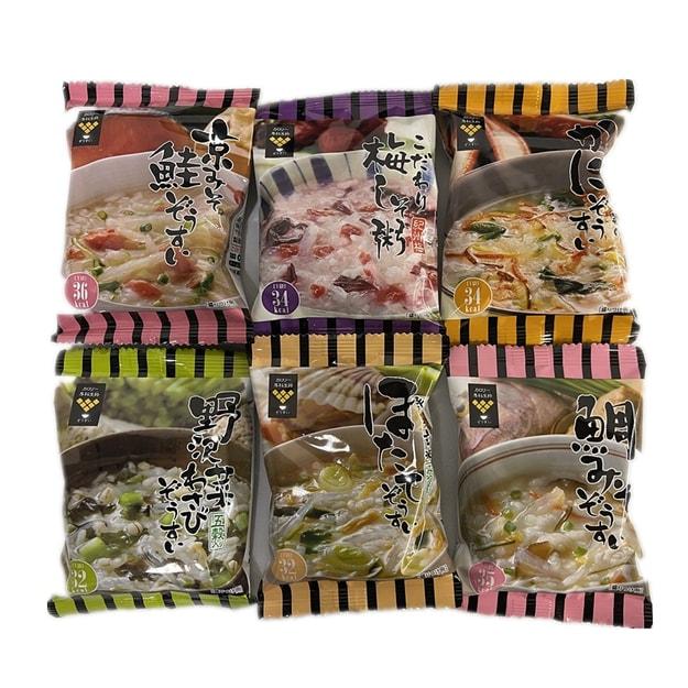 商品详情 - 【日本直邮】日本累计销售1亿2000万包 减肥代餐 方便早餐 超低卡路里营养粥 6种口味各一 共6包装 - image  0