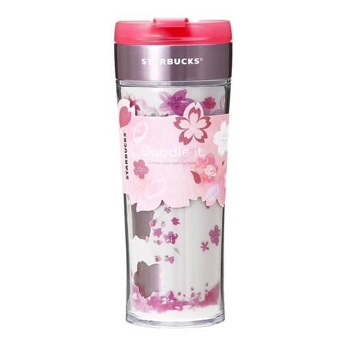 STARBUCKS Dual Layer Doodle It Stainless Steel Tumbler Mug 470ml Japan Sakura Limited Edition (Free Black Pen)
