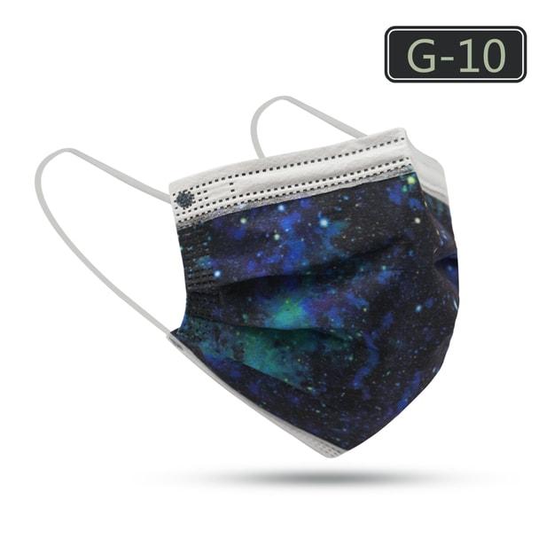 商品详情 - 【中国直邮】Merry Life 成人蓝色星空三层透气一次性口罩10只装独立包装(G-10) - image  0