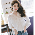【韩国直邮】ATTRANGS New Korean Women Summer T-shirt Short sleeves Casual Lady Loose Blouse Tops ivory free size