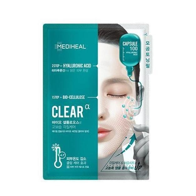 商品详情 - 韩国MEDIHEAL 胶囊100 生物纤维 收缩毛孔 两步面膜 27ml 10片/盒 - image  0