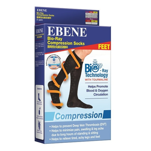 Product Detail - EBENE Bio-Ray Compression Socks L Size 1pair - image 0