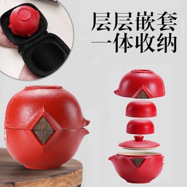 Product Detail - CAITONGCHANG Travel tea set portable fast cup simple ceramic outdoor portable Red - image 0