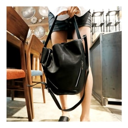 KOREA MAGZERO Top Shoulder Bag with Pouch #Black Faux Leather [Free Shipping]