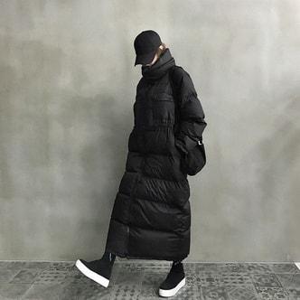 韩国直邮 NANING9 收腰长款纯色羽绒服 黑色 均码